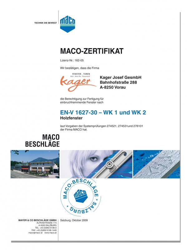 Maco Zertifikat